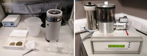 Manual setup for plunge-freezing in liquid ethane (left) and sample transfer via liquid nitrogen-cooled brass inserts to a LN2-cooled freeze-drier (right).