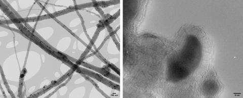 Multi-walled carbon nanotubes with remnants of iron catalyst (Karin Müller, Prof. Krzysztof Koziol, Prof. Slawek Boncel, then Dept. of Chemical Engineering and Biotechnology, Cambridge).