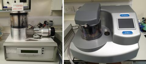 Quorum Emitech K575X metal sputter coater (left) and Quorum Q150T E carbon coater (right).